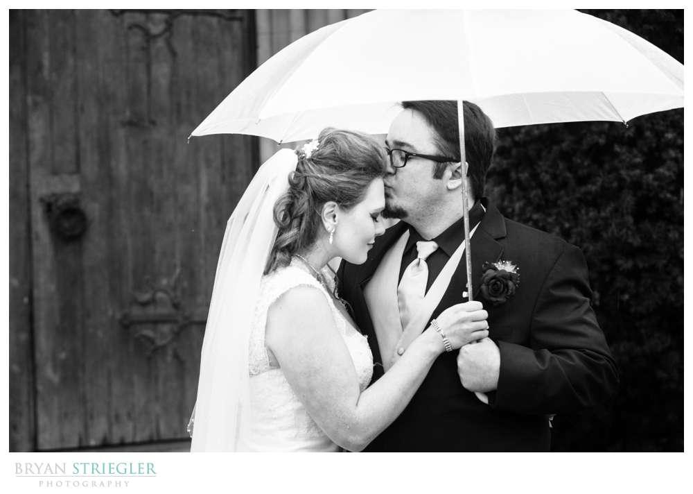 Fayetteville Wedding Photographer groom holding umbrella kissing bride