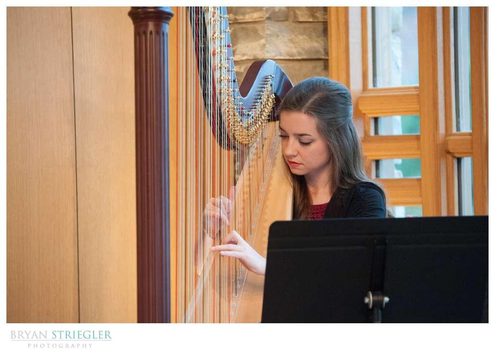 Arkansas Winter Wedding harpist