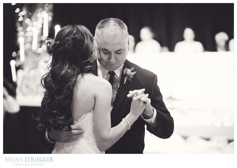 Springdale Arkansas Wedding father daughter dance kiss on cheek