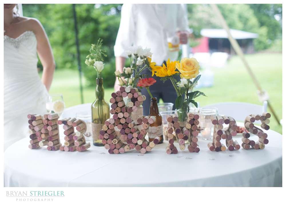 Rogers Wedding Arkansas table decorations corks