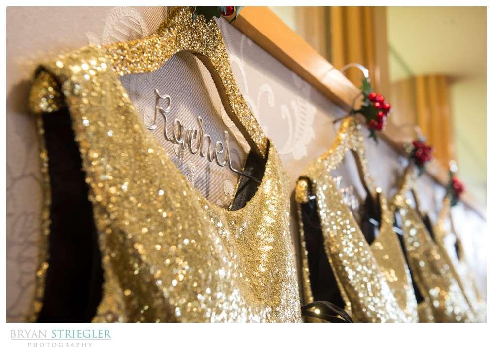 Arkansas Winter Wedding custom hanger
