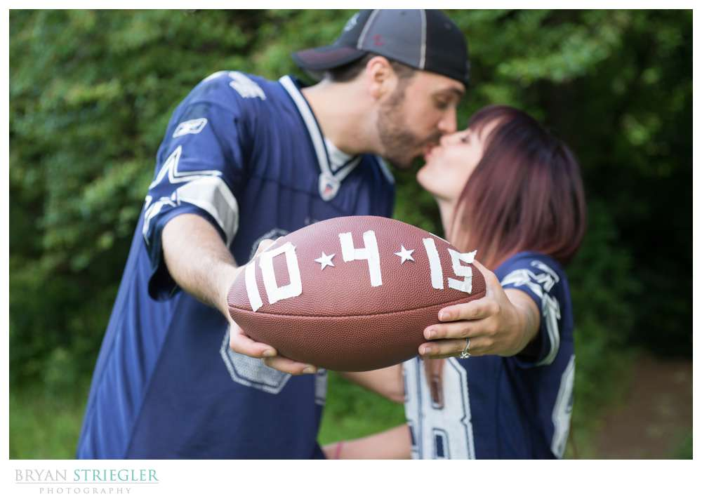 Matt and Ashley's Fayetteville Engagement Photos football with date