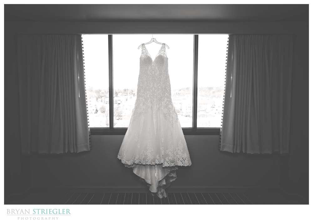 Fayetteville, Arkansas wedding dress hanging The Chancellor Hotel