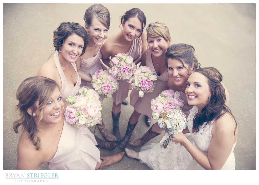 bridal party photos bridesmaids with cowboy boots