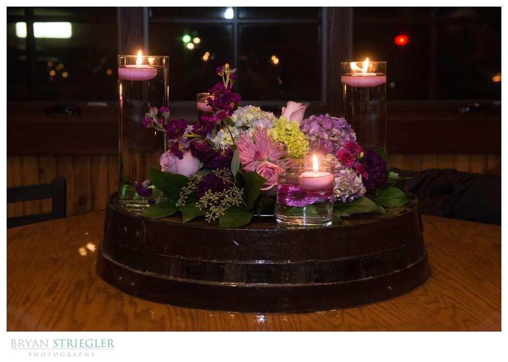 Northwest Arkansas Wedding Photographer table flowers with candles
