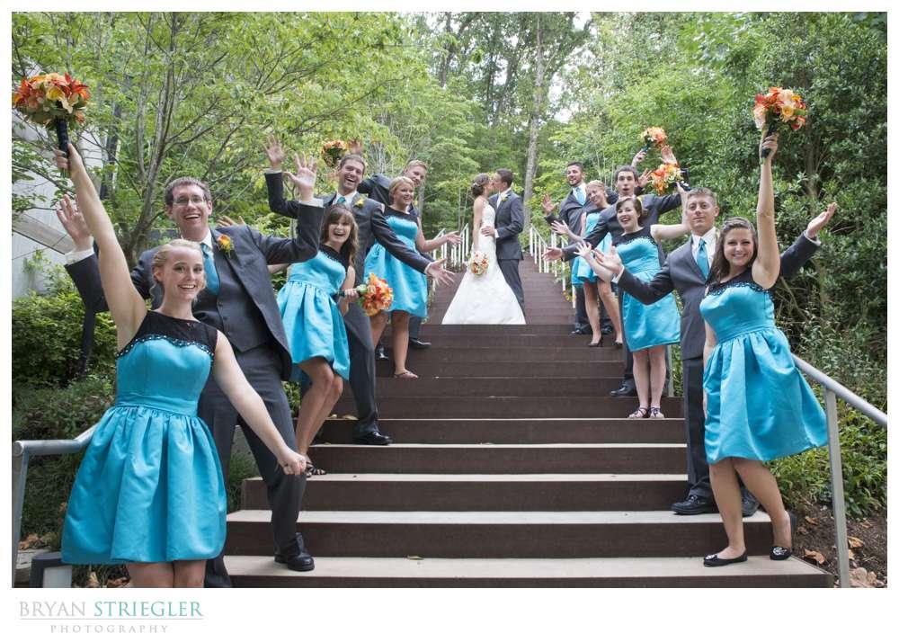 Northwest Arkansas Wedding Photographers bridal party on stairs