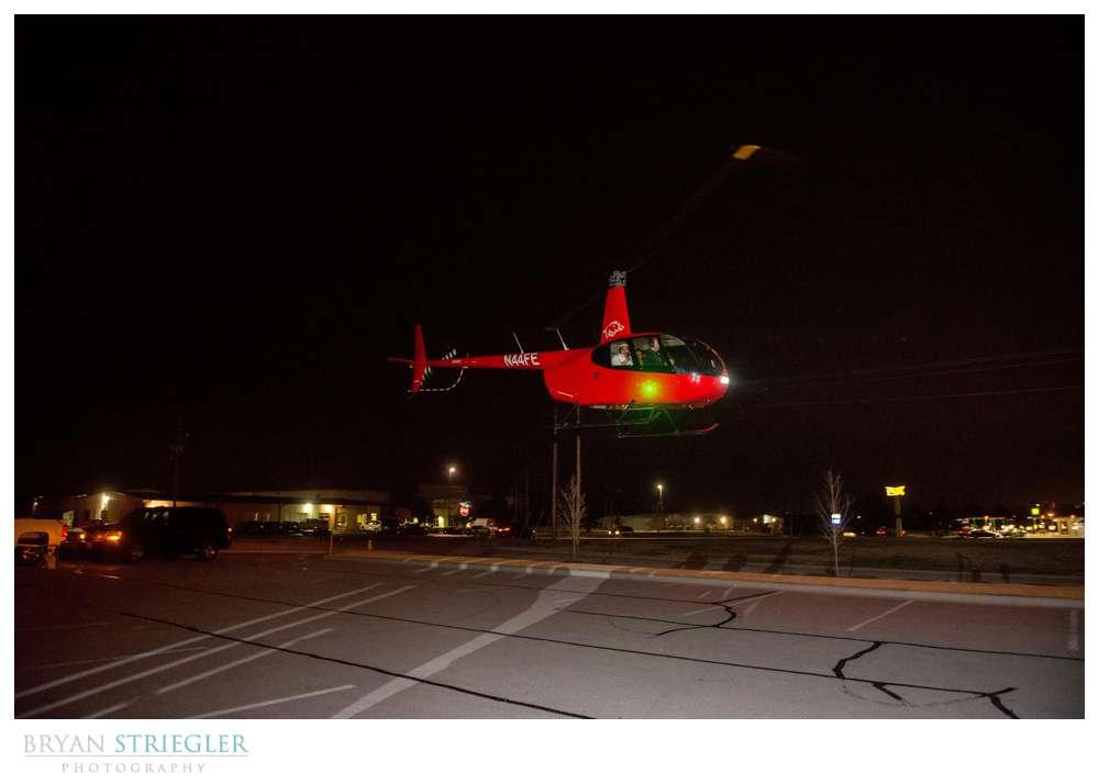 Northwest Arkansas Wedding Photographer helicopter exit