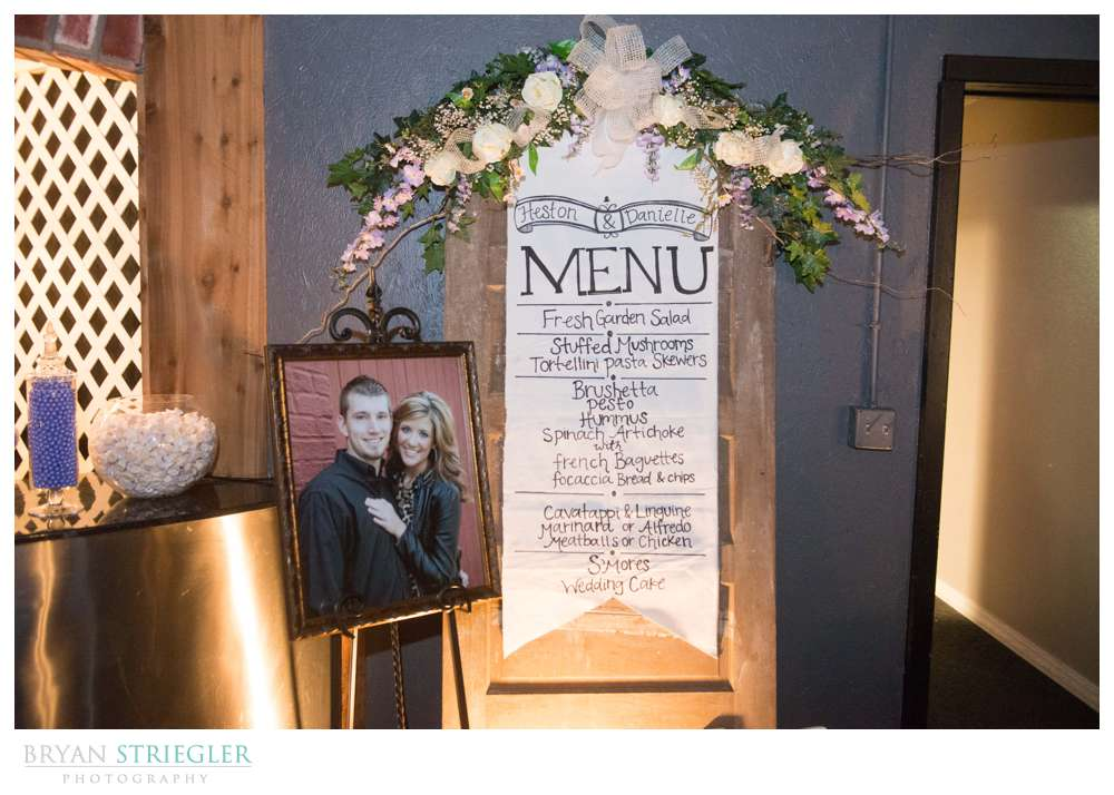 Fayetteville wedding photographer custom menu for food
