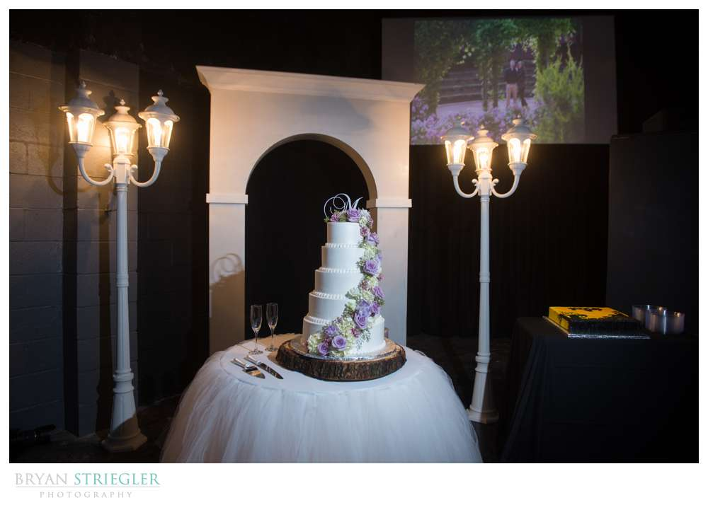 Fayetteville wedding photographer wedding cake with light posts