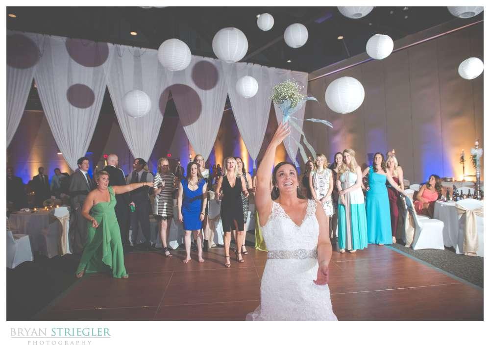 Fayetteville, Arkansas wedding bouquet toss