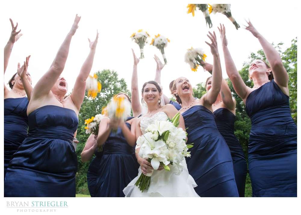 Rogers Wedding Arkansas girls tossing flowers