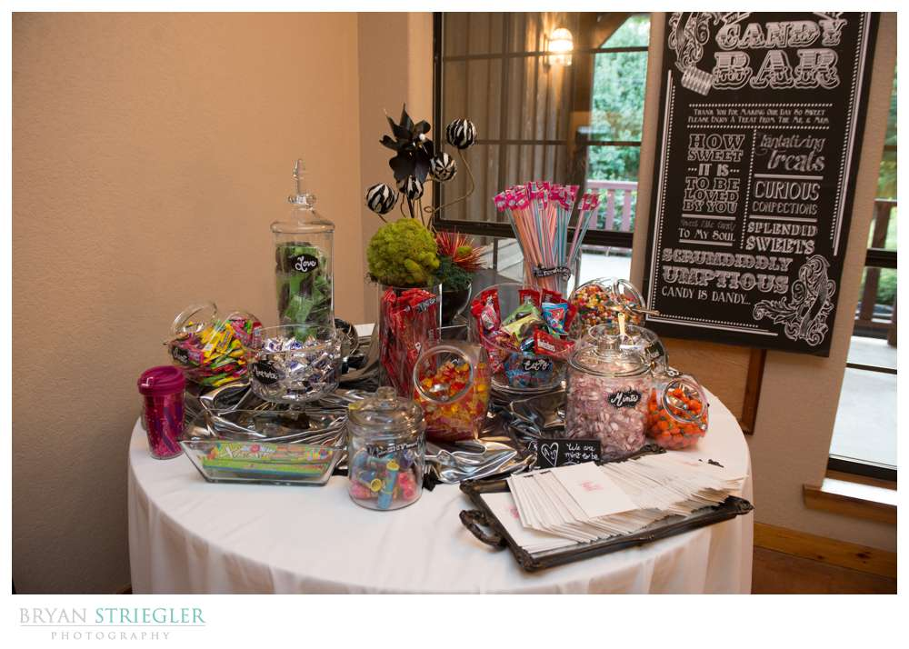 Creative wedding candy bar