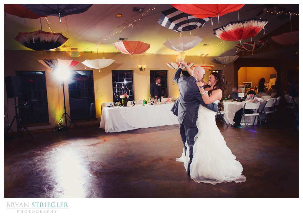 Creative wedding bride and groom dancing