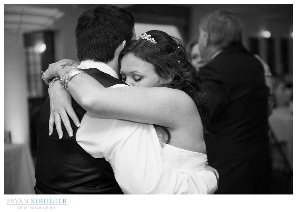 Creative wedding bride dancing with son
