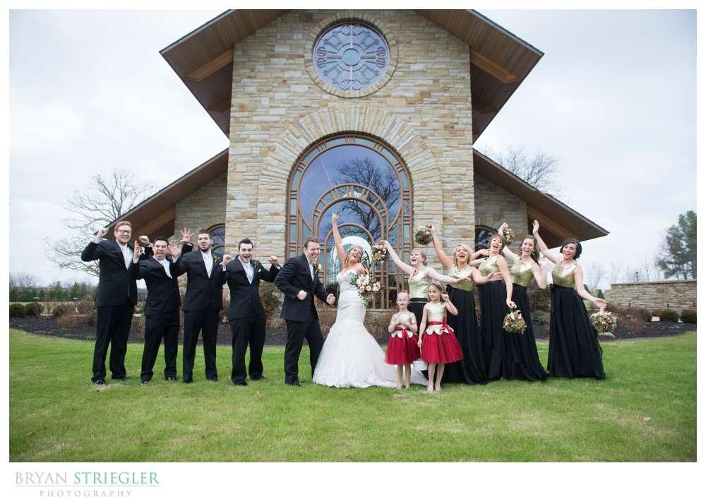 Arkansas Winter Wedding bridal party goofy