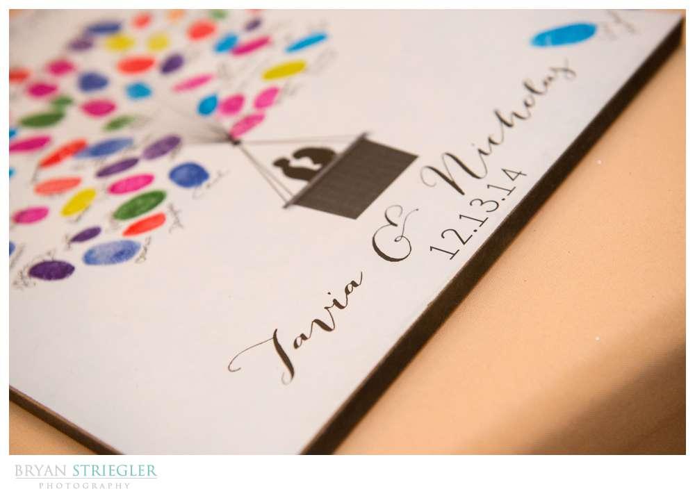 Arkansas Winter Wedding guest book fingerprints