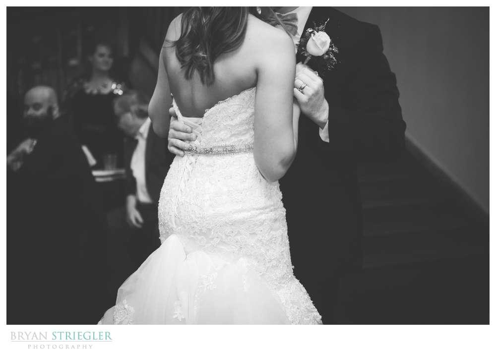 Arkansas Winter Wedding first dance black and white
