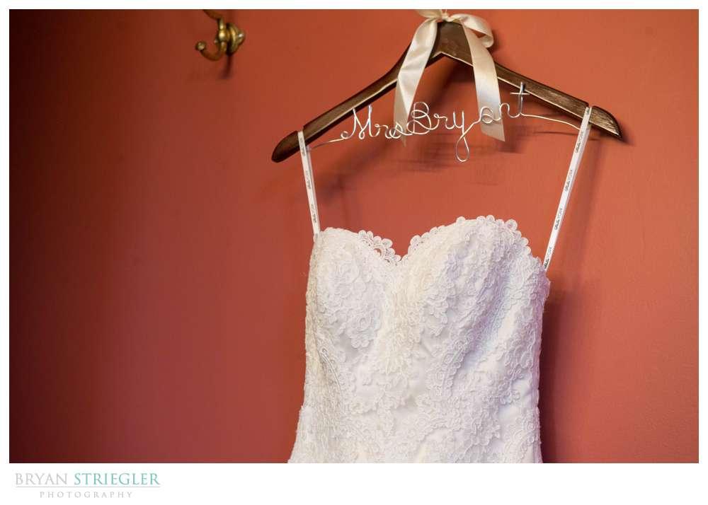 Springdale Arkansas Wedding dress with custom name hanger