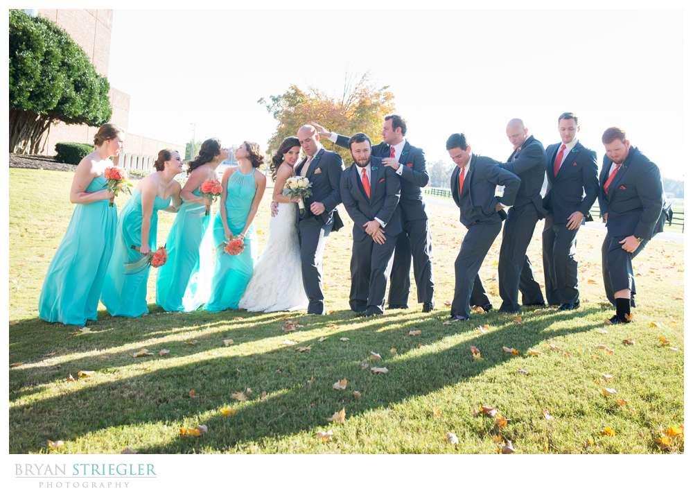 Springdale Arkansas Wedding goofy bridal party