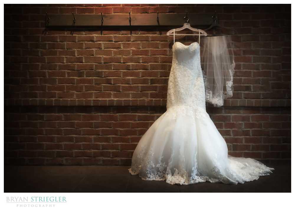 wedding details wedding dress and vail hanging
