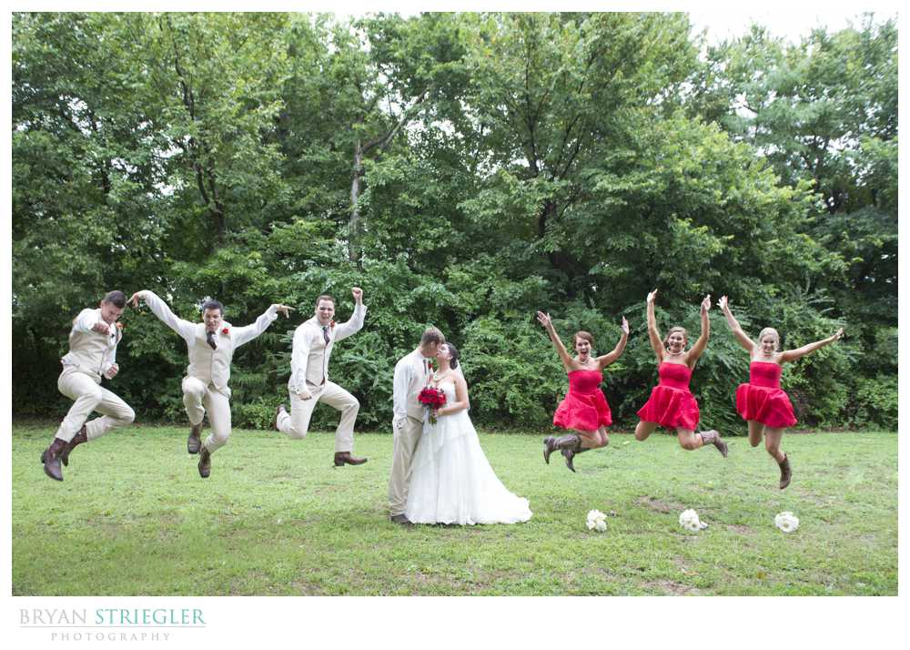 bridal party photos jumping karate kid