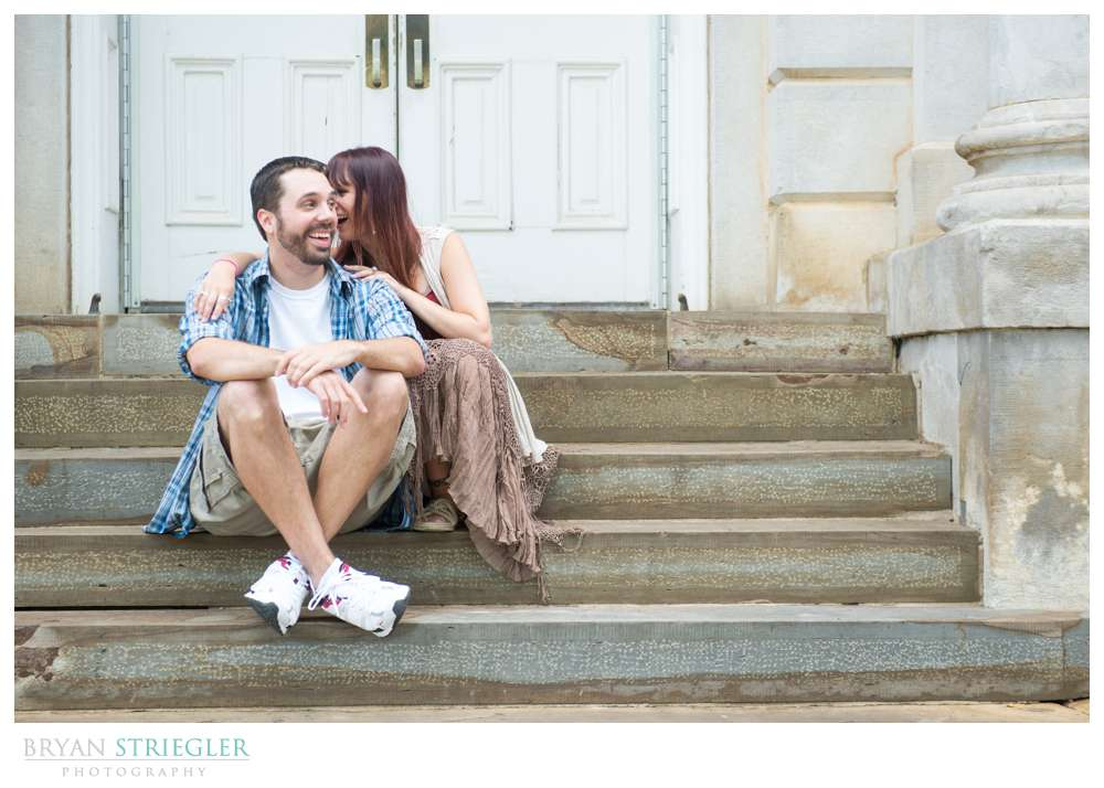 Matt and Ashley's Fayetteville Engagement Photos Old Main steps