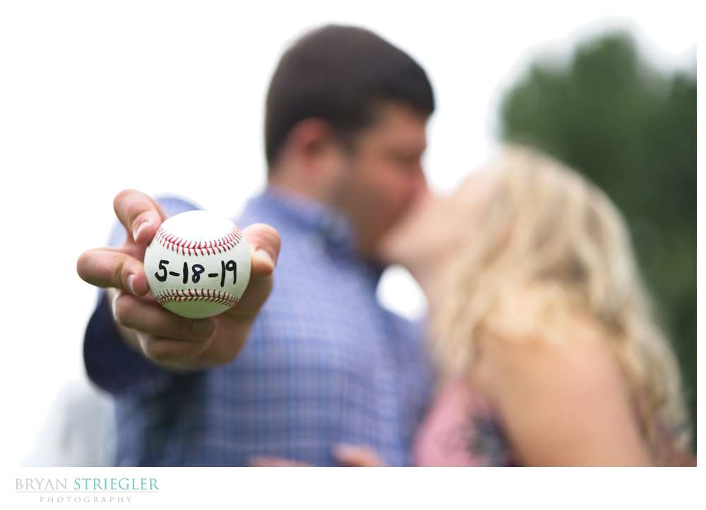 baseball with wedding date