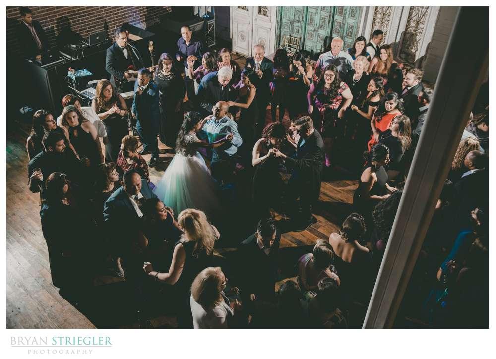 high angle of dance floor at Ravington wedding