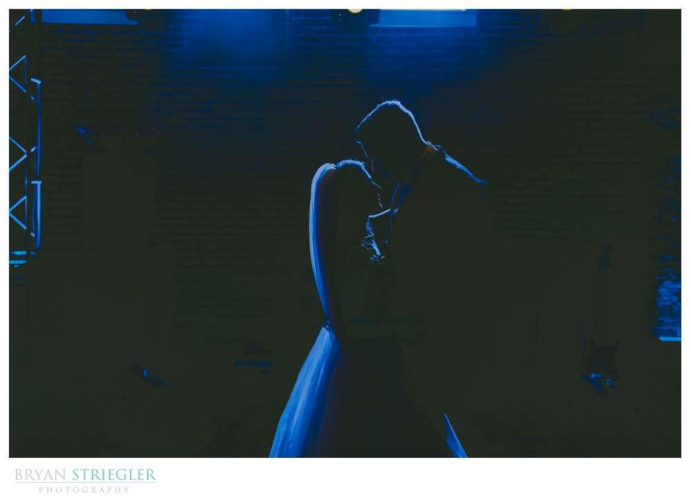 silhouette first dance wedding photo