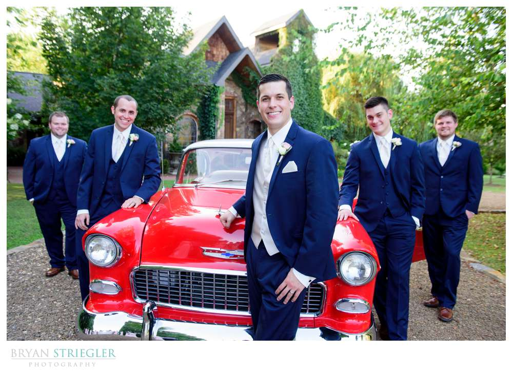 Groomsmen with classic car