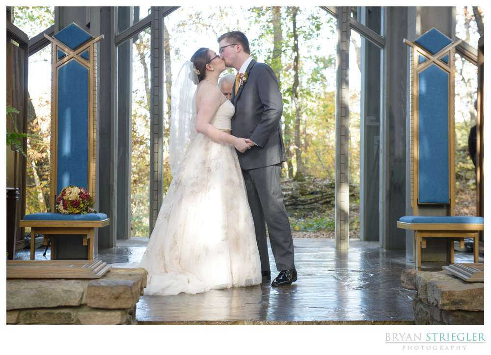 Elopement wedding at Thorncrown in Eureka Springs