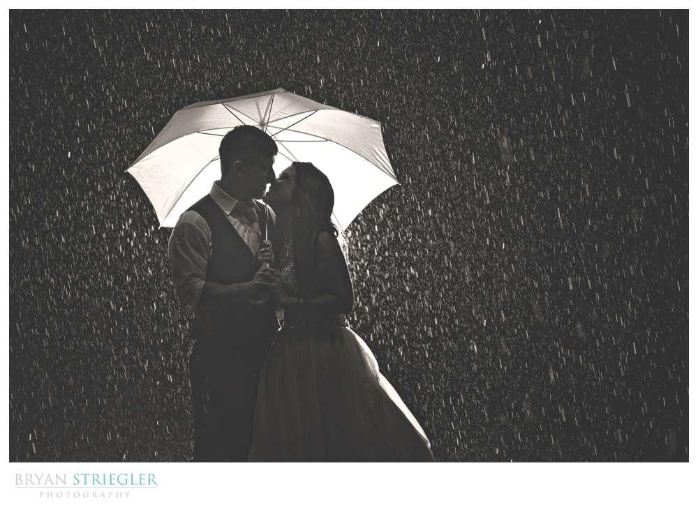 wedding photo in the rain