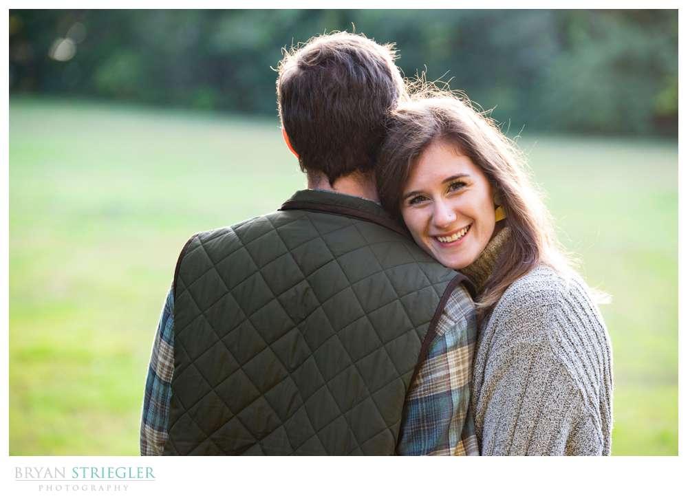 head on shoulder of fiance