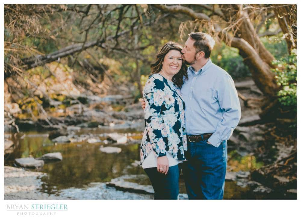 using a creek for engagement photos