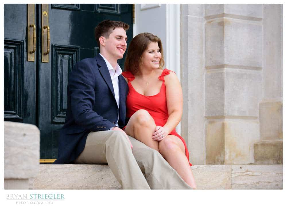 engagements on steps of Old Main