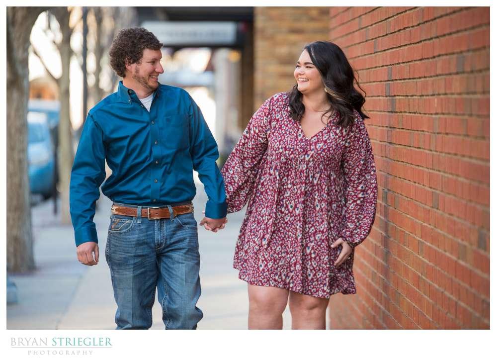 walking engagement photos