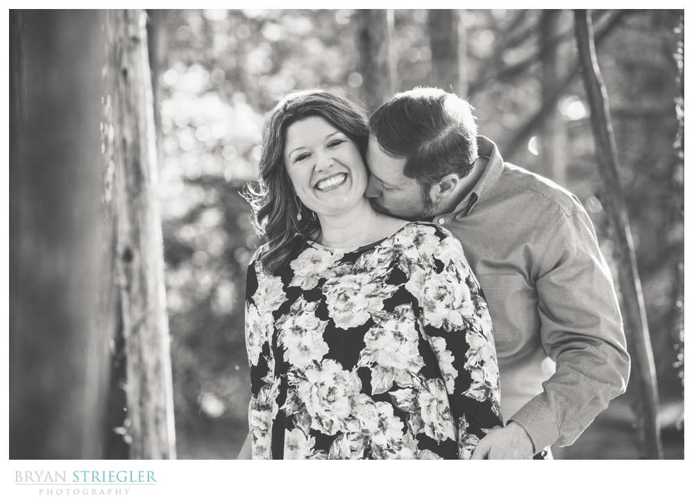 black and white engagement photo