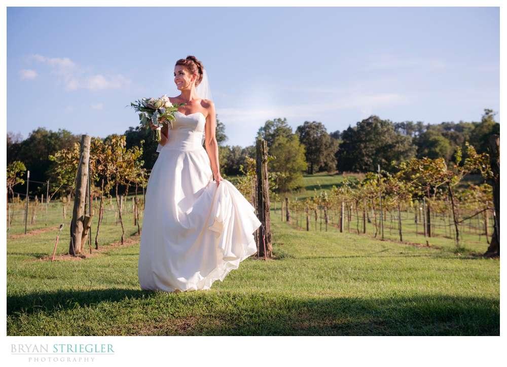 bride with vineyard