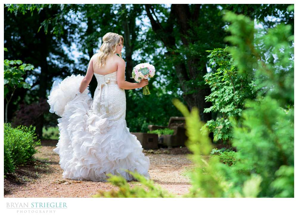 bridal portrait with ruffled dress