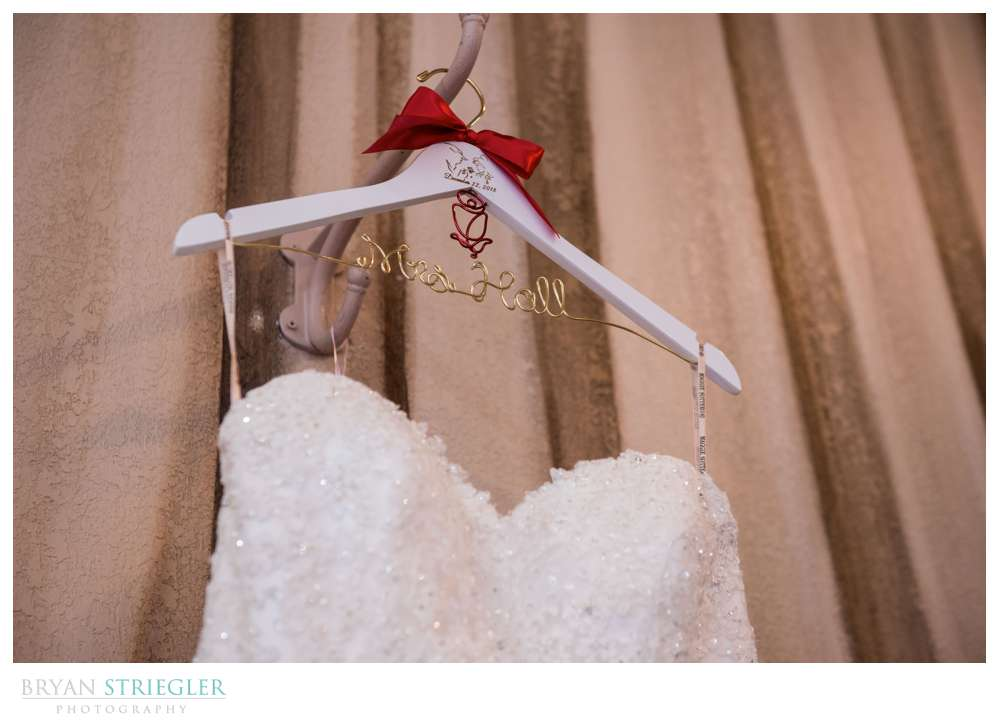 custom wedding hanger with beauty and the beast