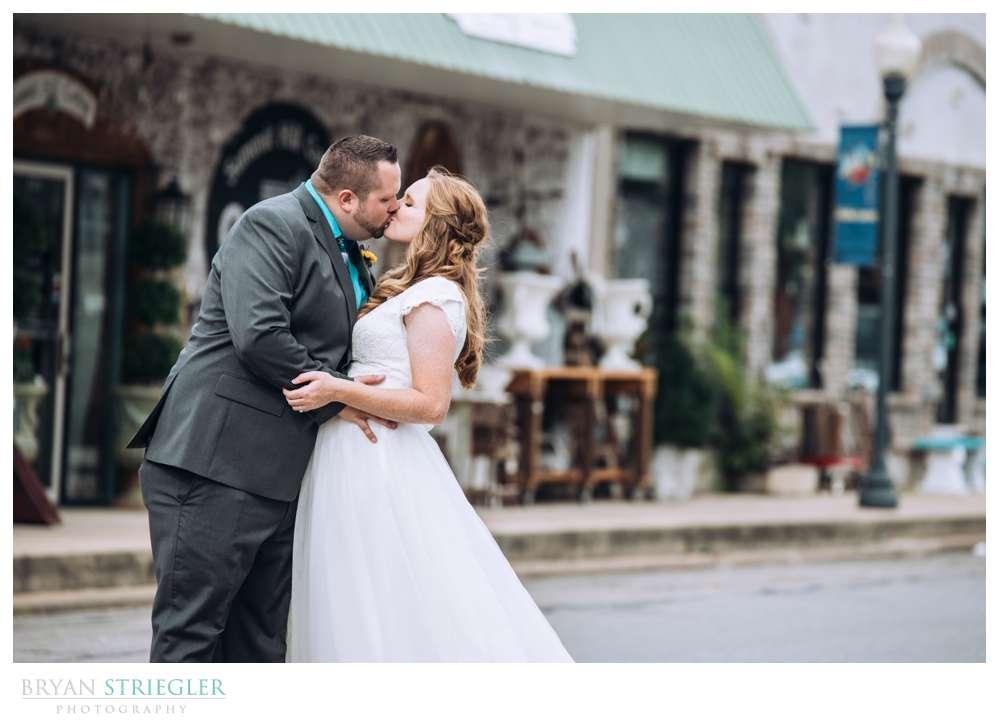 bride and groom in downtown Prairie Grove