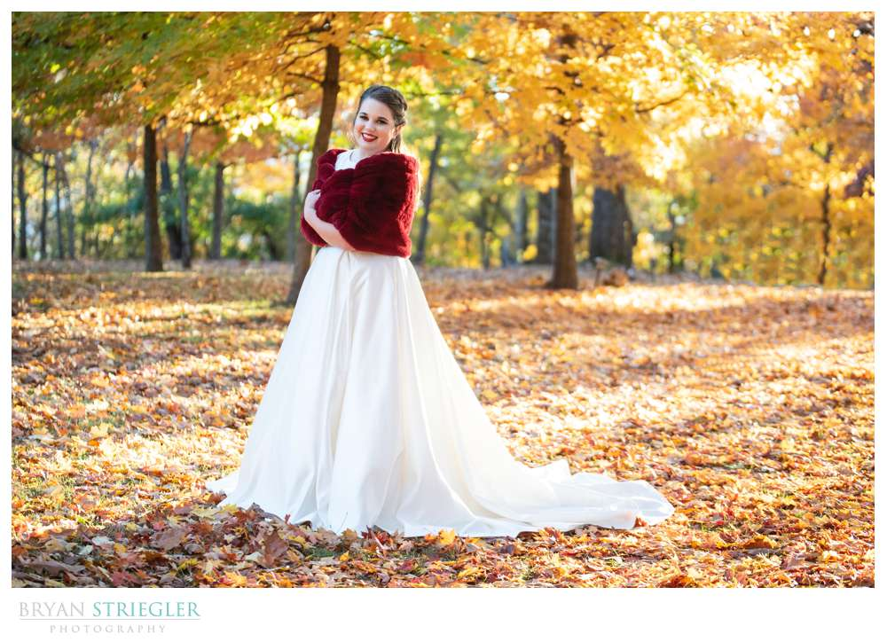bridal portrait in the fall