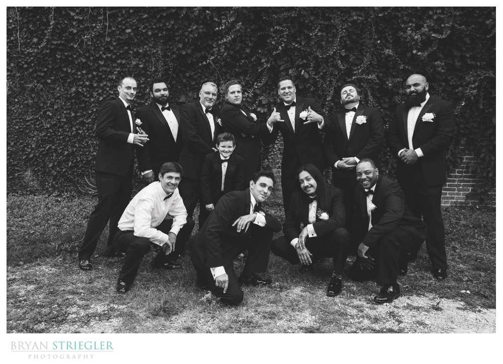 group of guys posing at Ravington wedding