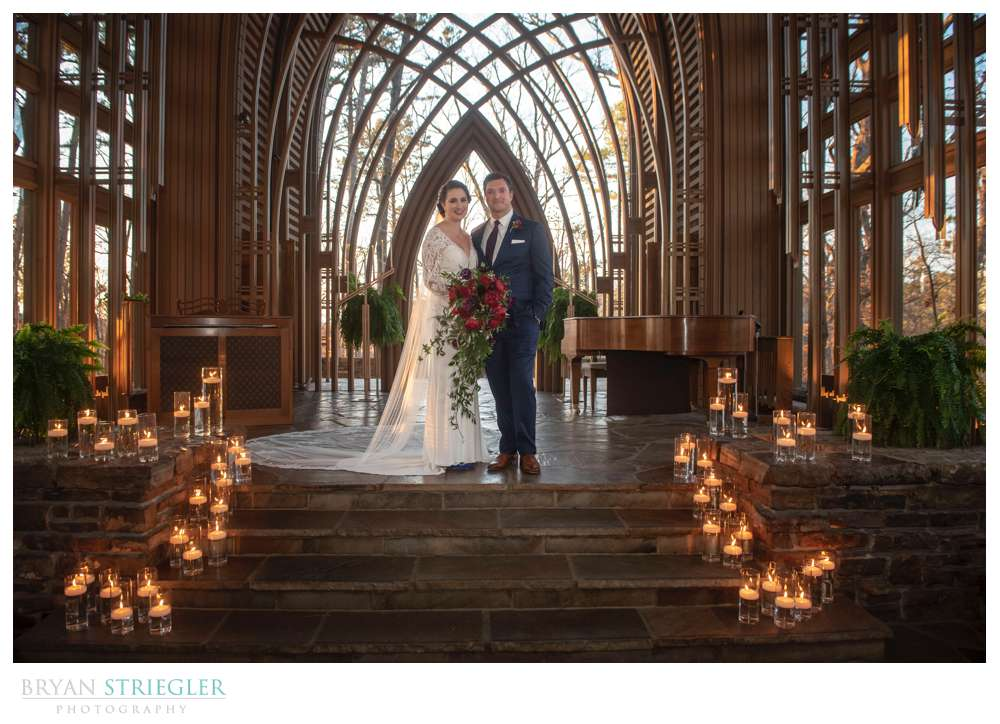 wedding ceremony with candles on stage