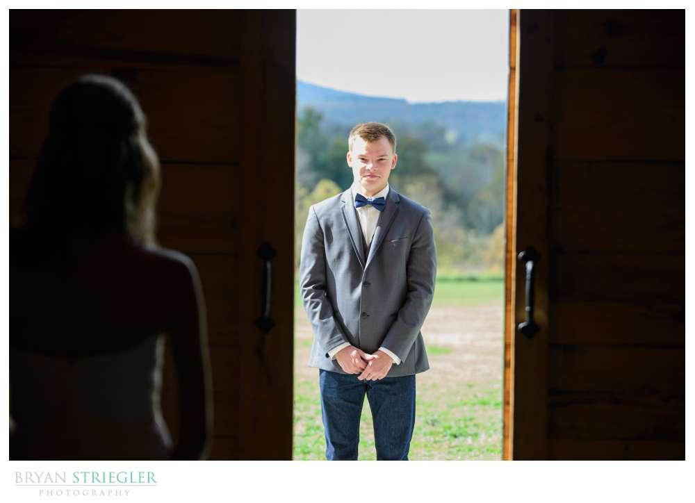 first look through barn doors