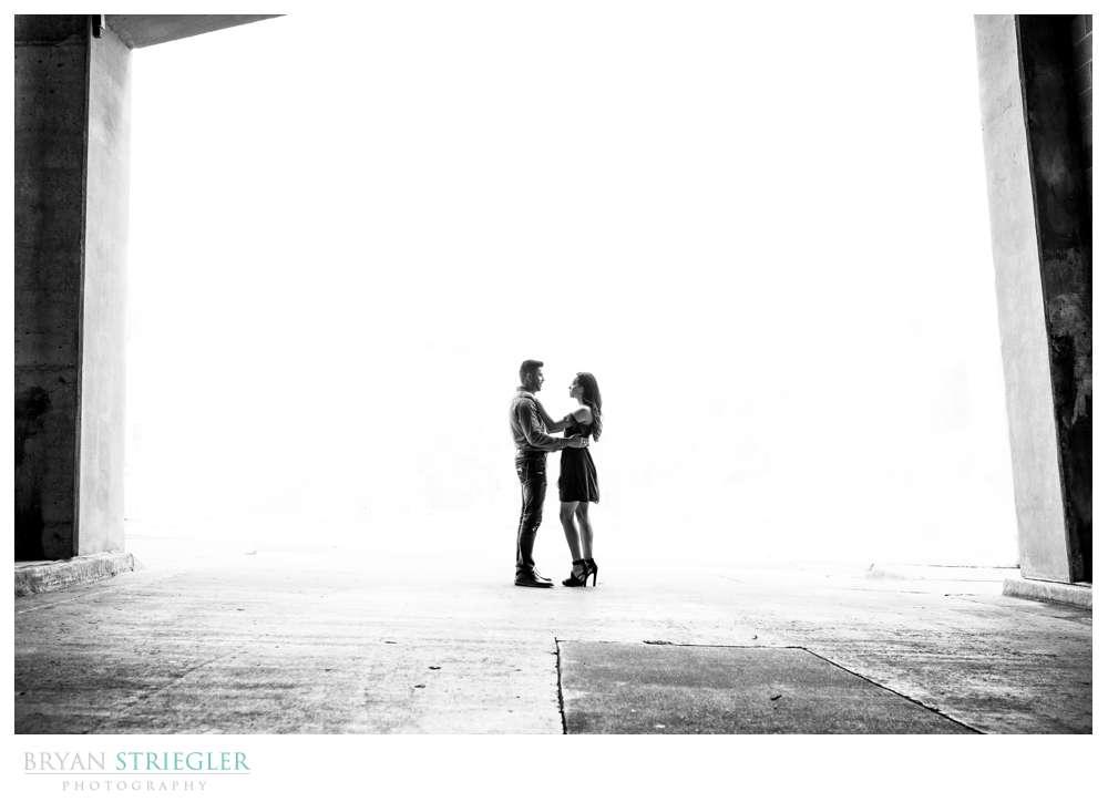 Engagement photo in a parking garage