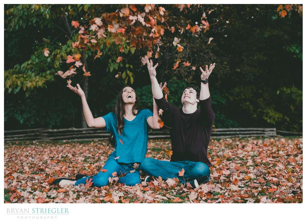 engagement photo with leaves