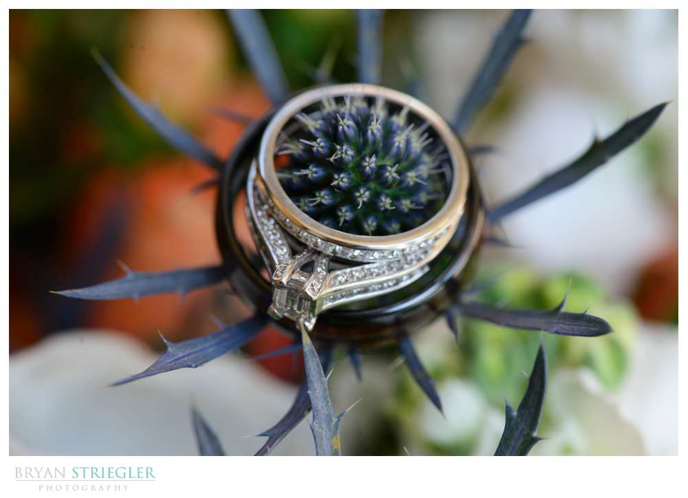 wedding ring shot with spiky flowers
