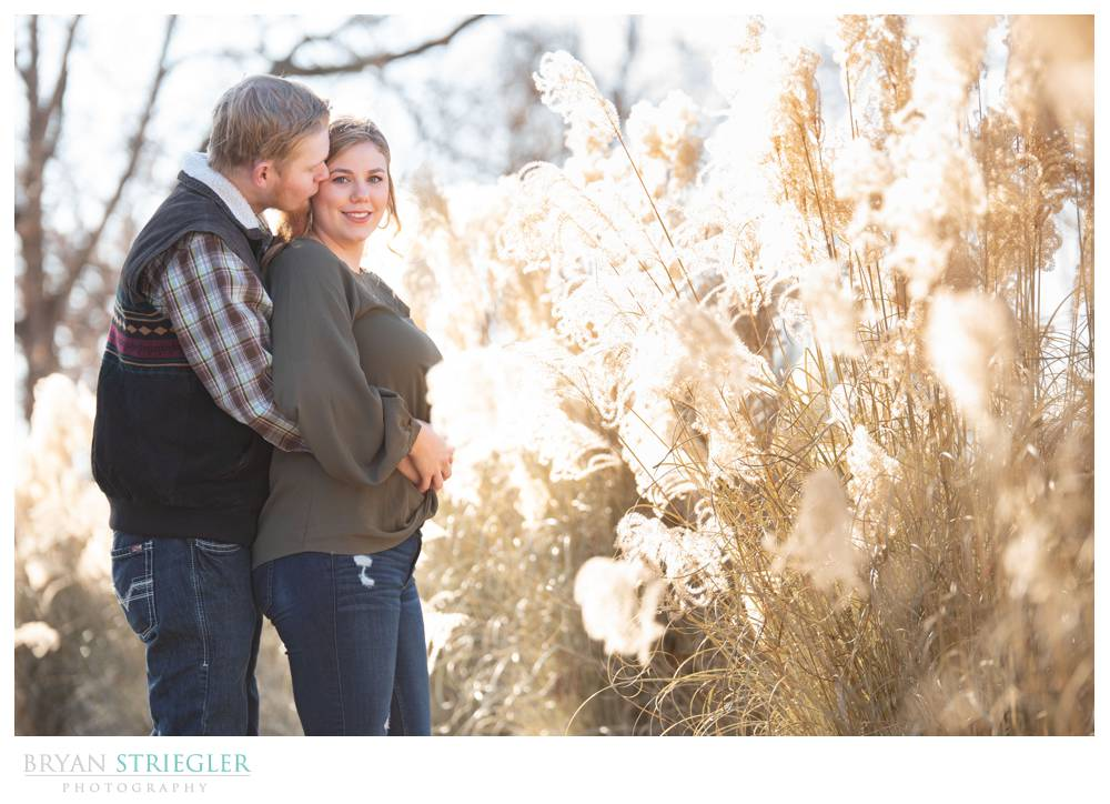 engagement photos with sunny background