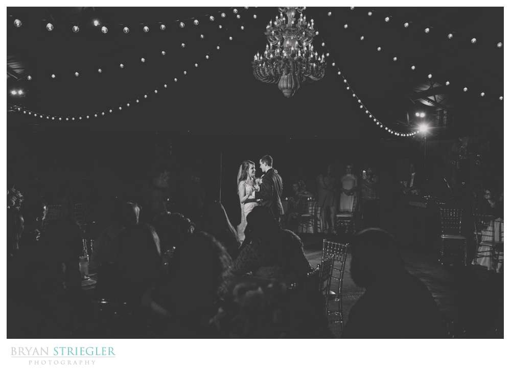 Wide shot of first dance in black and white
